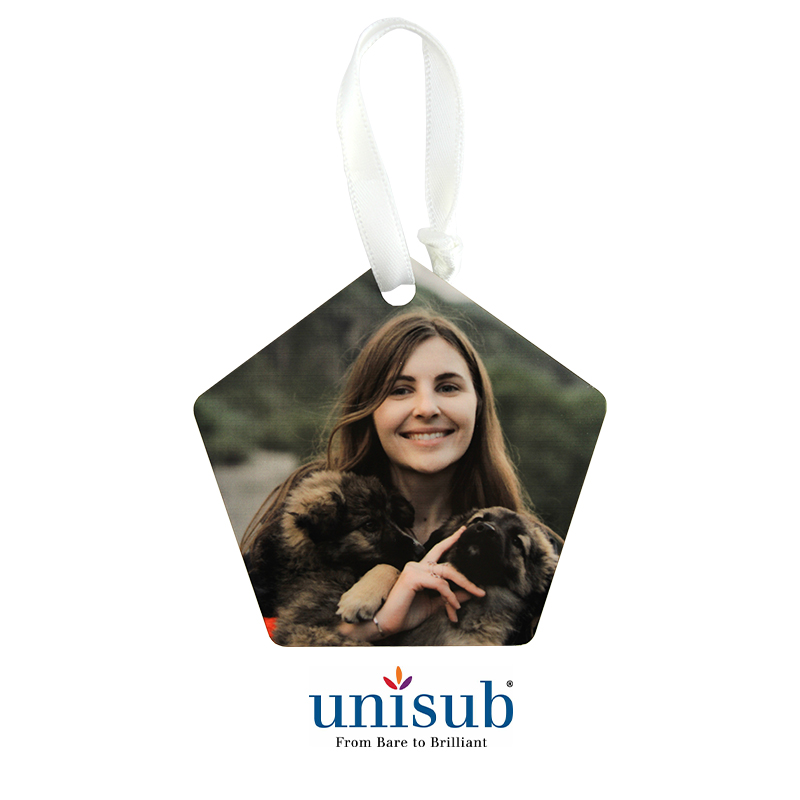 Unisub® Sublimation Blank  Aluminum Ornament - Pentagon - 2.74