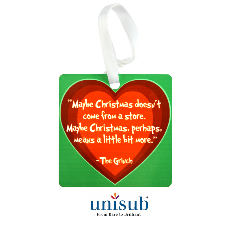 Unisub® Sublimation Blank  Aluminum Ornament - Square - 2.75
