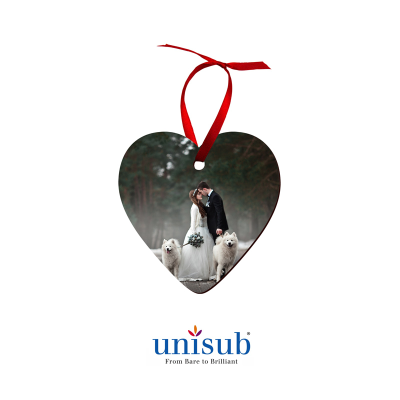 Unisub® Sublimation Blank Hardboard Ornament - Heart Shape - w/Red Ribbon