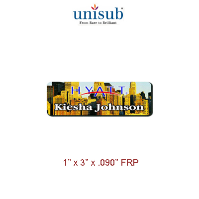 Unisub Sublimation Blank Name Badge - 1 x 3 - FRP - White Matte