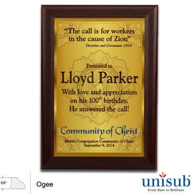 5x7 Unisub 5/8 Cherry MDF Plaque - White Gloss