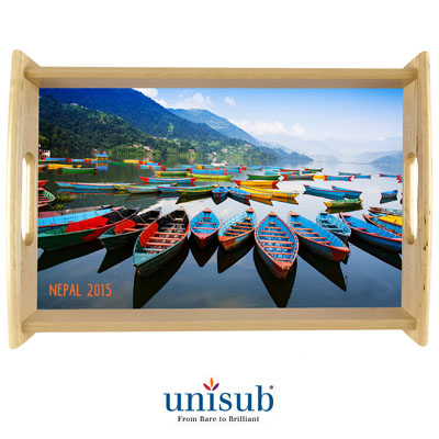 "Unisub Sublimation Blank Wood Serving Tray Kit - 13.5"" X 19.5"" - Natural Finish - 2-Pack"
