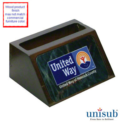 Unisub Sublimation Blank Wooden Business Card Holder - Mahogany Finish w/Insert