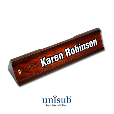 Unisub Sublimation Blank Wood Desk Name Plate Holder w/Aluminum Insert