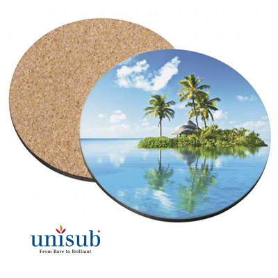 Unisub Sublimation Blank Hardboard Coaster - 3.75 - Round w/Cork Bottom