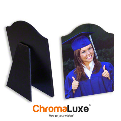 ChromaLuxe Sublimation Blank Hardboard Photo Panel - 8 x 10 - Gloss White Arch Top w/Easel