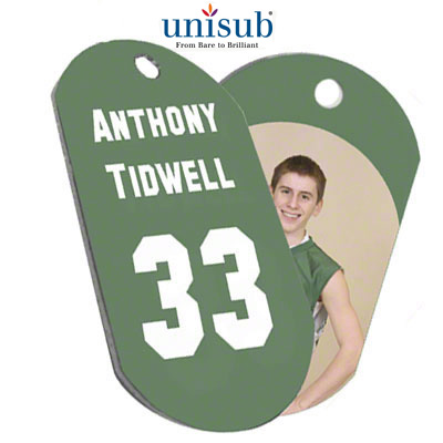 Unisub 1.125x1.875 2-Sided Dogtag - White Gloss