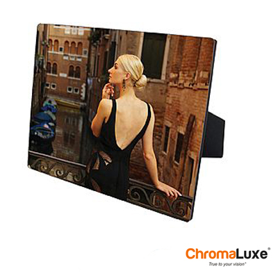 ChromaLuxe Sublimation Blank Hardboard Photo Panel - 6 x 6 - Gloss White w/Easel