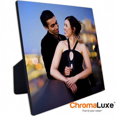 ChromaLuxe Sublimation Blank Hardboard Photo Panel - 10 x 10 - Gloss White w/Easel