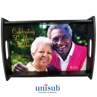 "Unisub Sublimation Blank Wood Serving Tray Kit - 13.5"" X 19.5"" - Espresso Finish - 2-Pack"
