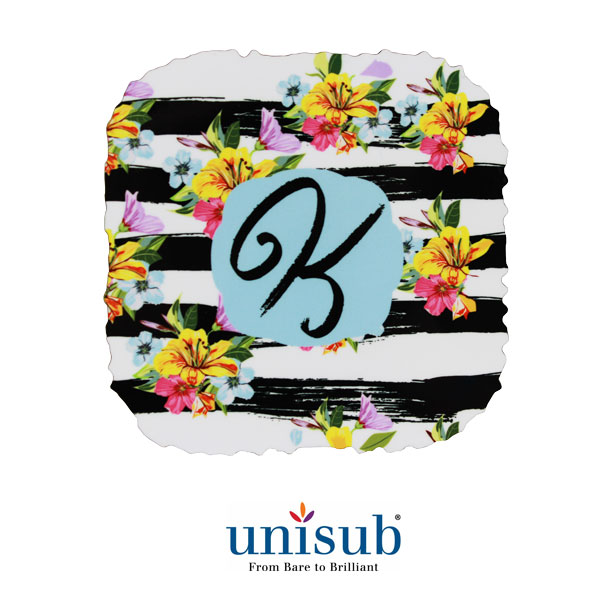 Unisub Sublimation Blank Rustic Edge Hardboard Coaster - 4 - Square w/Cork Bottom