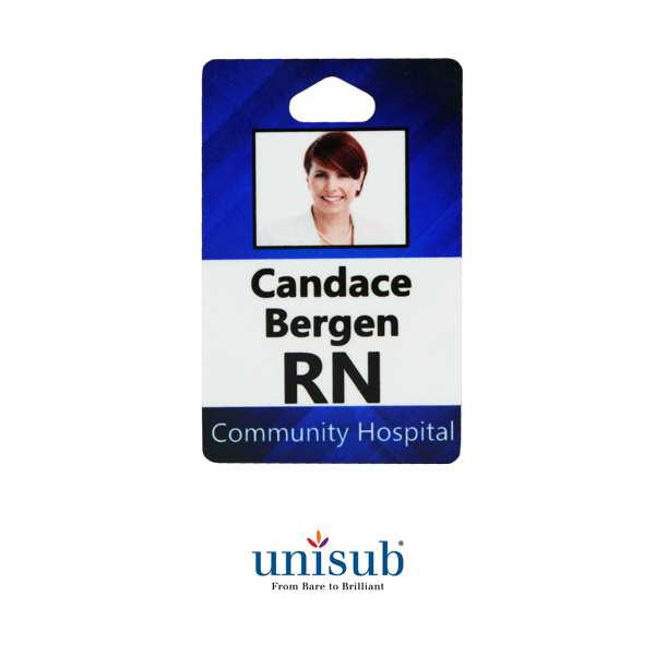 Unisub FRP Slotted ID Badge - Portrait White Gloss
