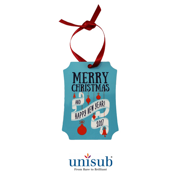 Unisub Sublimation Blank Aluminum Ornament - 2.75 x 3.94 Berlin Portrait w/Ribbon