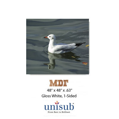 49x48 Unisub MDF Sheet Stock - White Gloss