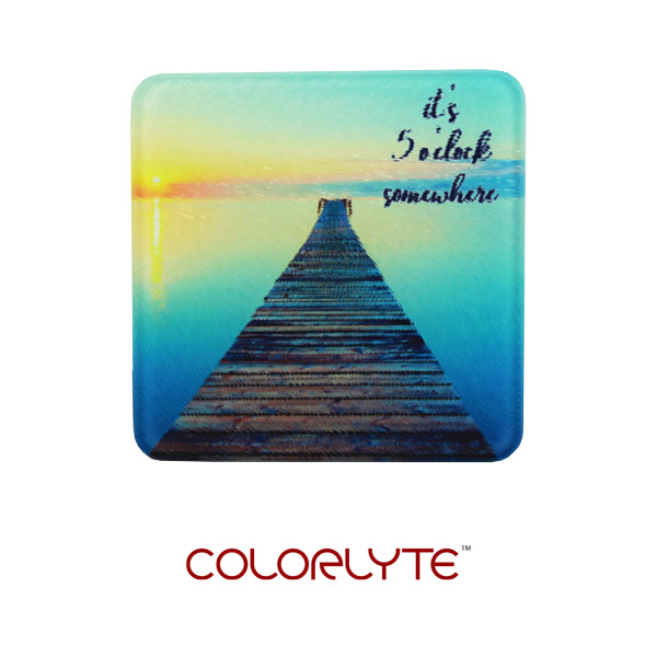 DyeTrans Sublimation Blank Glass Coaster - 3.94 - Square w/Chinchilla Finish