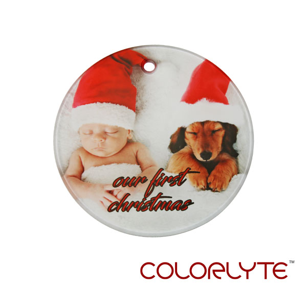 ColorLyte Sublimation Blank Glass Ornament - 3.5 Round w/Ribbon