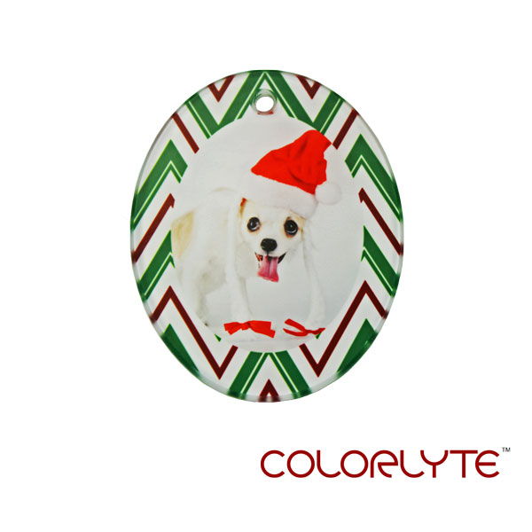 ColorLyte Sublimation Blank Glass Ornament - 2.76 x 3.5 Oval Portrait w/Ribbon