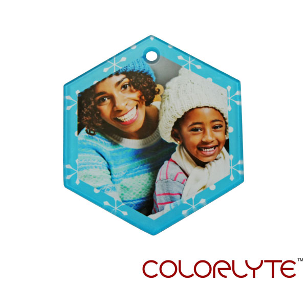 ColorLyte Sublimation Blank Glass Ornament - 3 x 3.5 Hexagon w/Ribbon